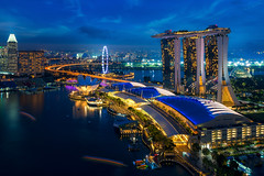 Cityscape of Singapore (anekphoto) Tags: singapore marina bay sands night skyline city business waterfront sky landscape beautiful modern tourism light building travel blue architecture district urban asia cityscape landmark tower skyscraper downtown asian hotel twilight casino water outdoors scene river famous panorama bridge helix reflection space evening tourist park central commercial dusk structure bar rooftop restaurant