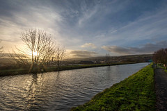 DSC- 0025 - Leeds-Liverpool Canal (SWJuk) Tags: swjuk uk unitedkingdom gb britain england lancashire burnley home canal leedsliverpoolcanal straightmile burnleyembankment water flat calm serene reflections dawn daybreak sunrise towpath clouds bluesky sunlight footpath vanishingpoint outdoor landscape waterscape 2017 feb2017 winter nikon d7100 nikond7100 rawnef lightroom