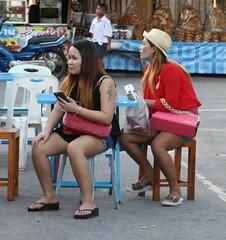 67 (SadCire) Tags: woman frau femme mujer girl thigh tattoo legs short street candid sexy asian denim jeans