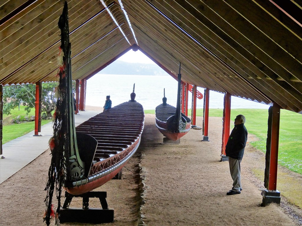 Waitangi House on the Bay of Islands.  Traditional Maori boat under cover.