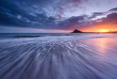St Michael's Mount.   (In Explore) (b.pedlar) Tags: sea tides mount sky clouds colour sunset landscape atlantic marazion mountsbay st michaelsmount seascape cornwall island causeway