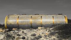 Deposito (Maflay28) Tags: deposito tanque pila bomba dorado blanconegro anillos fotoshoot abandonado fotografía composición sonyhxv400 tarde arena