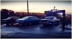 Frank's Diner Sunset 2 (gpholtz) Tags: ford chevrolet mercedes miniatures 1967 1968 mustang impala diorama 118 diecast 280se