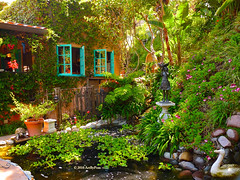Once Upon A Time... (Art By Pem Photography: Tao Of The Wandering Eye) Tags: california travel flowers trees windows usa leaves statue garden lumix pond scenery cottage peaceful vine nopeople panasonic laguna southerncalifornia idyllic bucolic fineartphotography scenicsnotjustlandscapes dmcfz28