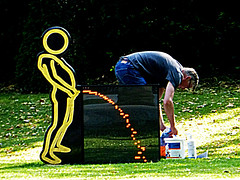 Statue and workman (Mike Thorn) Tags: man person artwork candid rude worker amusing juxtaposition peeing mikethornberry