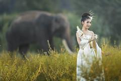 Thai girl with elephant (SaravutWhanset) Tags: