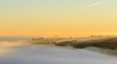 Foggy morning in yorkshire at sunrise (chrissmithphotos1) Tags: morning autumn light sunset red summer sky panorama cloud sun mist plant tree nature beautiful field grass yellow misty fog sunrise season landscape gold dawn countryside colorful open view outdoor background yorkshire horizon scenic meadow sunny scene rays