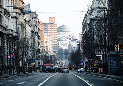 """Late afternoon in the streets of Belgrade - The church of Saint Sava in the background"" (porCography) Tags: life road street city vacation people urban signs motion church lines car night lights moving day afternoon view serbia streetphotography shops neonlights saintsava beograde backgrouund"