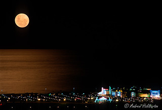 Double exposure moonrise on Indian Ocean, Durban, South Africa