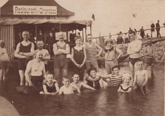 Bathing costumes (c.1920s) (pellethepoet) Tags: summer men beach boys swimming germany children seaside women holidays europe outdoor stripes kinder resort photograph bathing groupportrait seasideresort jungen knaben bathingcostumes restaurantimstrandbad