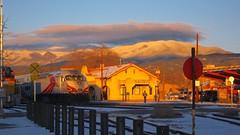 Glorious Luscious Light (suenosdeuomi) Tags: light sunset snow mountains newmexico santafe luz licht trains trainstation depot lucia railyard latelight longlight snowmountains canons90