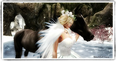 In company of a friend (Beautiful Tracy) Tags: sl woman winter christmas horse art snow magic fairy