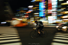 VELO + CITY (NINA KOB (on & off)) Tags: panning bike urban cityscape street night ginza tokyo