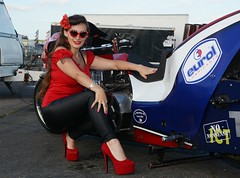 Holly_9874 (Fast an' Bulbous) Tags: top fuel bike motorcycle eurol drag race santa pod outdoor people pinup model girl woman hot sexy hotty biker chick babe long brunette hair red shoes stilettos leather pvc trousers jeans leggings england summer eurofinals nitro pose