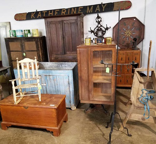 Katherine May Sign ($313.60), Oak 12 Drawer File Cabinet ($246.40), Unusual Glass Door Revolving Bookcase from Staunton Dunkard Church ($252.00), Old Blue Painted Dry Sink ($840.00)