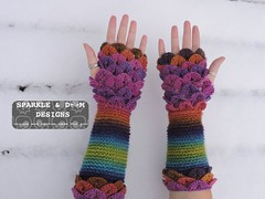 Crocodile FMitts Rainbow01c (zreekee) Tags: crochet sparkledoomdesigns rainbow furls bonitadesigns crocodilestitch