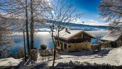 Une idée du paradis !! (Tra Te E Me (TTEM)) Tags: lumixfz1000 photoshop cameraraw doubs lac saintpoint malbuisson hiver neige gelé maison rbre soleil ciel porttiti paradis