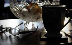 a bowl of lemons (overthemoon) Tags: home table bowl crystal mug specs glasses dark light sparkle chiaroscura utata:project=sparkle