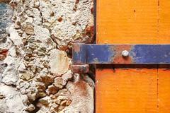 Textures (G-daddyArt) Tags: door hinge wood metal rock concrete charlotteamalie virginislands stthomas detail
