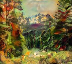 Sierra Nevada 1981 (clabudak) Tags: ostagram mountains sierranevada pinetrees trees forest landscape painting