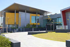 External view of conference room & library. Southern entrance - Cockburn Health and Community Facility