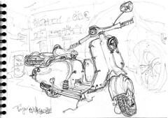 Lambretta 125 LD, au chaud, au garage (Croctoo) Tags: scooter lambretta croctoo croquis croctoofr crayon