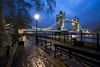 The Tower In The Rain... (JH Images.co.uk) Tags: london night blue hour towerbridge tower bridge hdr dri lamp light river thames clouds trees path rain architecture