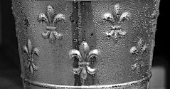 Laissez le Bon Temps Rouler! (BKHagar *Kim*) Tags: bkhagar bw champagne cold icy water beads fleurdelis metal metallic bucket laissezlebontempsrouler monochrome ice