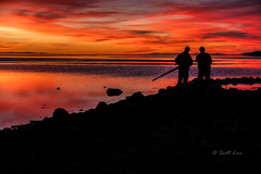 """I'll show you mine if you'll show me yours"" (Just Used Pixels) Tags: sunsets silhouettes reflections people gsl greatsaltlake water lakes"