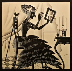 "The tragedy of ""Dona Ajada"" - I - The Headdress (1929) - José de Almada Negreiros (1893 - 1970) (pedrosimoes7) Tags: josédealmadanegreiros salvadorbacarisse manuelabril magiclantern artgalleryandmuseums ✩ecoledesbeauxarts✩ blackwhitepassionaward lanternamágica museu musée museum creativecommons cc blackandwhite bw"