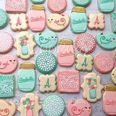CountryCookiesComplete (cREEative_Cookies) Tags: baby shower babyshower cookies harry potter elephant chic birds mason jar lace delicate flower sports its boy girl blessed baptism crib teddy bear kokeshi dolls sunshine clouds happy flowers girly boyish sugar edible art theme custom royal icing baked adorable roses daisies fondant booties shoes onesies bibs personalized sugarveil