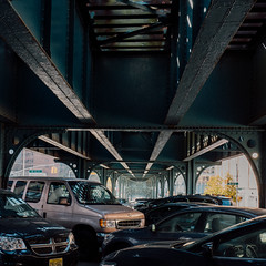 132 st. (Panda1339) Tags: 28mm leicaq summiluxq manhattan nyc bridges architecture cars streetphotography harlem 132street usa new york city