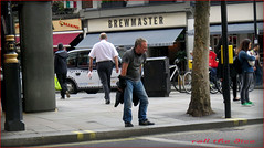 `1437 (roll the dice) Tags: road uk travel portrait england urban man london art classic beer westminster fashion tattoo drunk danger shopping underground funny closed chinatown crossing sad traffic candid soho transport tube drinking ale streetphotography stranger gone jeans unknown leicestersquare safe rough mad fella w1 westend pissed unaware boozer roundel wc2 londonist