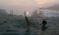 torre-mozza-alba-fra-sovrap.jpg_1 (_Nora_) Tags: sea girl silhouette sunrise bath mare alba bagno controluce ragazza overlap sovrapposizione
