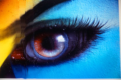 Blue eye (Marco Braun) Tags: street blue color art ojo graffiti eyes grafitti bleu colored blau augen farbig oculus bunt mucho oog il    couleures