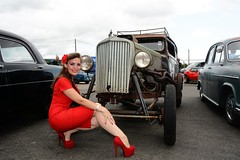 Holly's heels (Fast an' Bulbous) Tags: santa red england woman hot sexy stockings girl car pits hair high pod nikon rat automobile long dress cloudy outdoor july gimp babe chick heels vehicle rod stilettos showshine d7100 dragstalgia
