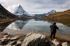 Le pêcheur de montagnes (Tonton Dave) Tags: mountain lake alps reflection montagne alpes landscape switzerland fisherman suisse lac reflet gornergrat zermatt matterhorn paysage pêcheur cervin