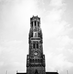 (nameer.) Tags: city bw white black tower fall clock architecture hall october europe european belgium bell gothic brugge grain medieval belfry bruges grainy markt 2015