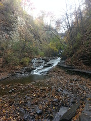 Walking up the Cascadilla Gorge (longyoung) Tags: november autumn fall nature water creek outdoors steps falls foliage trail waterfalls gorge ithaca cascadilla 2015