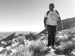 Find your nature. (Ok Andrew) Tags: california park blackandwhite mountain nature smile laughing fun climb nationalpark desert hiking candid joshuatree activity active rockclimb iphone