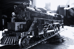 Old train (In Explore 2015 11 25) (gusarp) Tags: bw zeiss train t toy sony locomotive lionel 1950 variosonnar flickrfriday thetimesarechanging dscqx100