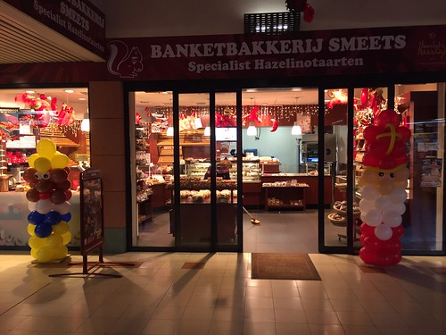 Ballonpilaar Sinterklaas en Zwarte Piet Banketbakkerij Smeets Spijkenisse