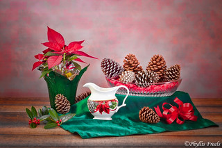 Holiday still life with pine cones.