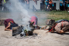 Aboriginal smoking ceremony to welcome the People's March for Climate Action at the Tent Embassy (Leo in Canberra) Tags: march protest australia demonstration canberra act climatechangemarch climatechangeaction peoplesclimatemarch lawnsofparliamenthouse pb291028 29november2015