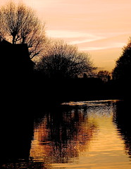 SUNSET-KENNET&AVON CANAL (conespider) Tags: uk trees sunset england sky orange water weather clouds outside canal nikon outdoor dusk gb newbury waterway nightfall reflaction kennetavon 2015 westberkshire