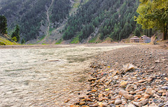 By the river side (iamadnan) Tags: pakistan mountains water river landscape stream stones pebbles huts valley naran