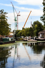 Regent's Canal (mh218) Tags: britain centrallondon greatbritain kingscross london regentscanal stpancras barge barges boat boats canal canals canalside capital city construction cranes development narrowboat narrowboats uk urban vertical water waterways weirs