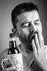 Really early mornings. (Originalni Digitalni) Tags: beer coffee kava pivo portrait portret sleepy early morning softbox yawn blackandwhite monochrome indoor hand beard bottle