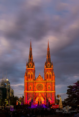Let The Show Begin (Bobby Krstanoski - Photography) Tags: architecture australia buildings canon canon5dmarkiii canonef1635f28 cathedral christmas church cityscapes eastcoastaustralia history longeposure nsw outdoor places stmary'scathedral summer sunset sydney