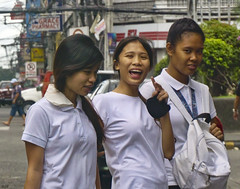 Hey ! (Beegee49) Tags: students laughing shy filipina ladies young crossing street bacolod city philippines